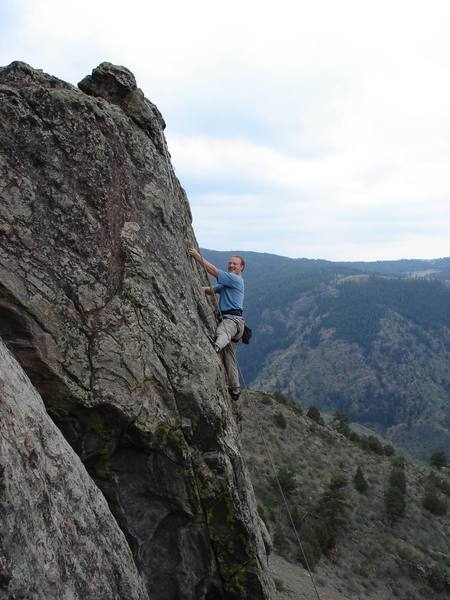 """""""Great Balls of Lichen"""" 10c Working a new route on TR, way up high in Clear Creek Canyon."""