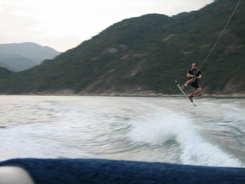 My brother jumping the wake Hong Kong style.