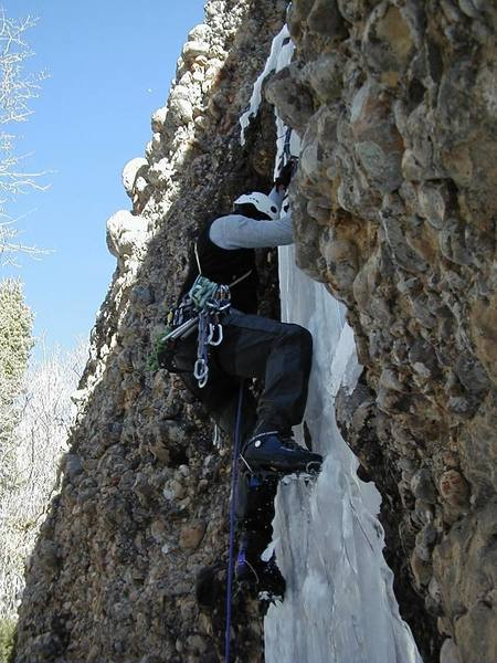 Climbing a new ice route in Maple Canyon.