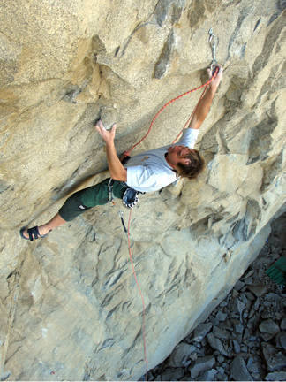 Jack flashing Leviathan (5.11d). photo by socalbolter