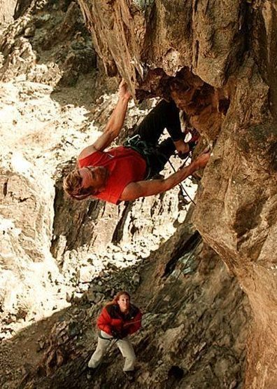 "Jack on ""Double Kneebar Ranch"" (5.12b/c).<br> photo by spike"