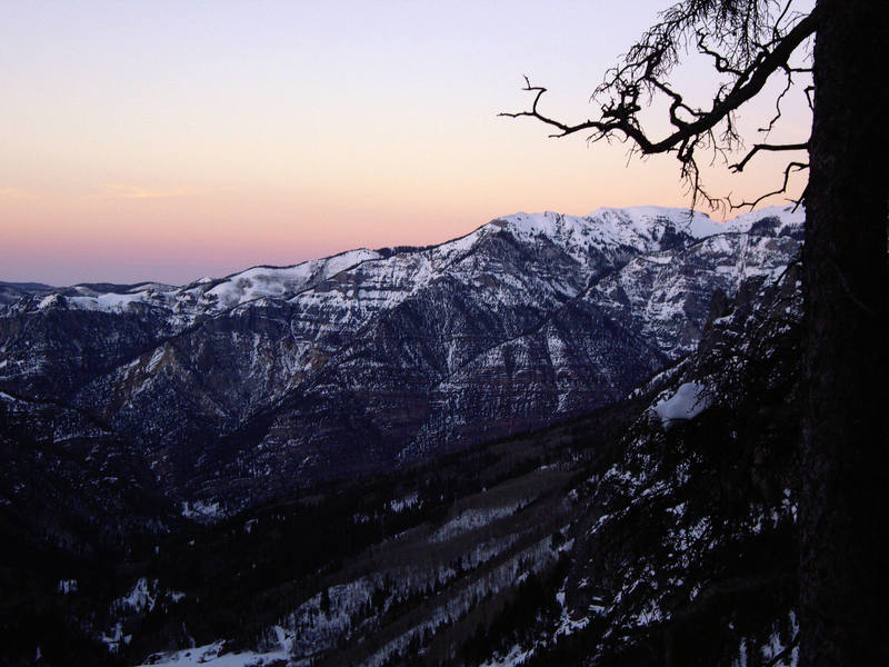 Dusk over Ouray from the top of the climb.