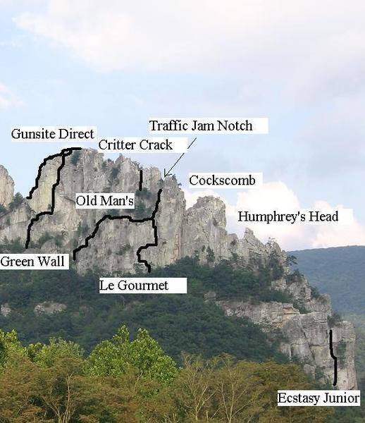 Routes on the West face of the South Peak