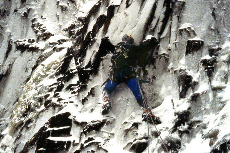 Traverse into crux at the beginning of the second pitch.  Photo by Paul Crowder, 1989.
