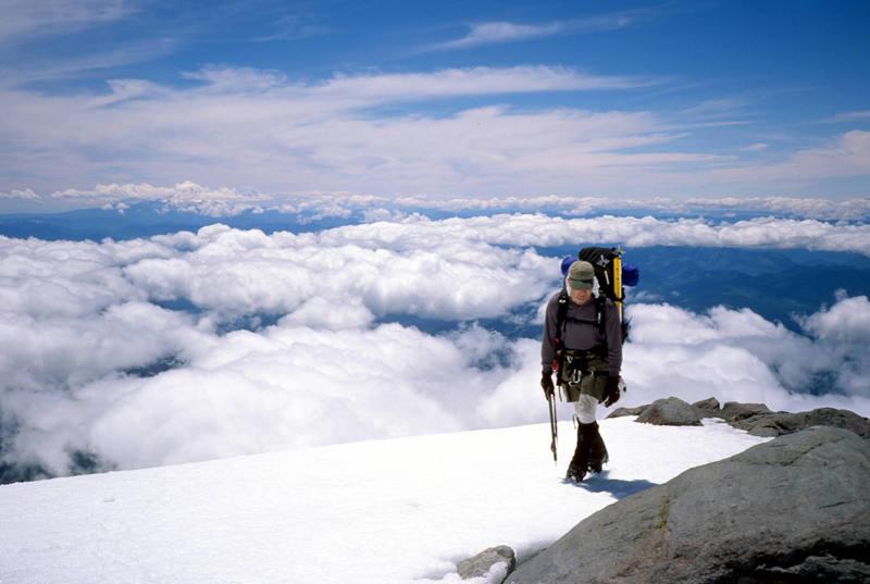 Mount Rainier, Kautz Glacier. Pat coming up to Camp Hazard. June, 2005.