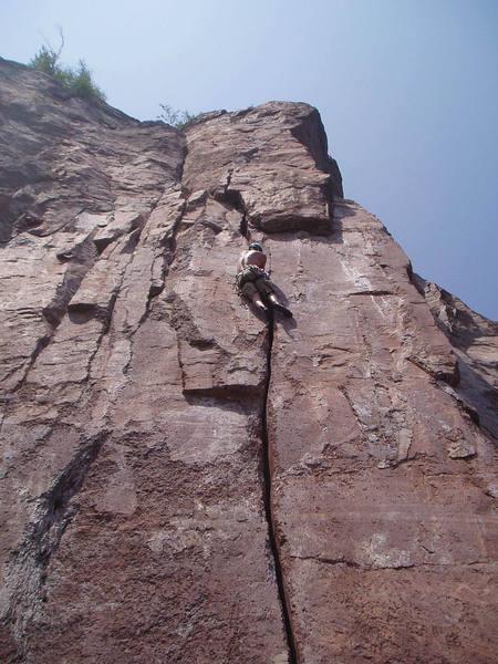 A little highball crack climbing in Palisade