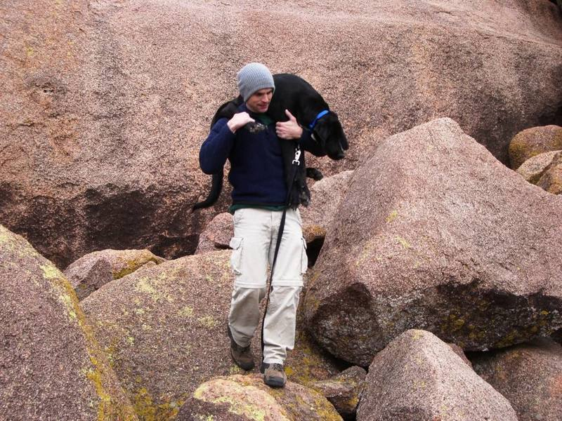 My dog Gomer, the great boulder hopper! Navigating the talus at Quartz Mountain after climbing
