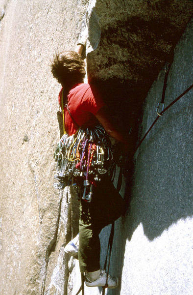 A very young Rusty Reno leading on the Pacific Ocean Wall.  Notice the high tech shoes.