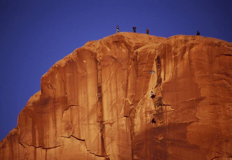 A base jumper faces the moment of truth after leaping off the middle Tombstone.