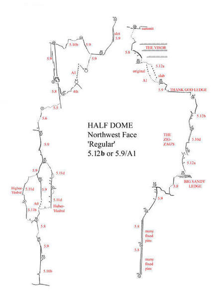 Half Dome NW Face Regular route - Free Topo