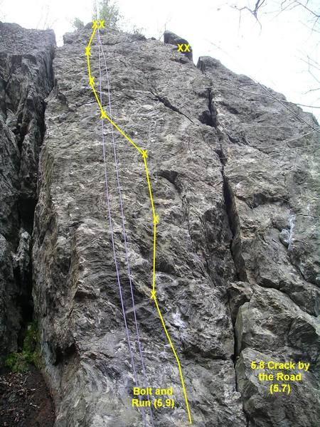 Bolt and Run (left), 5.8 Crack by the Road (right).