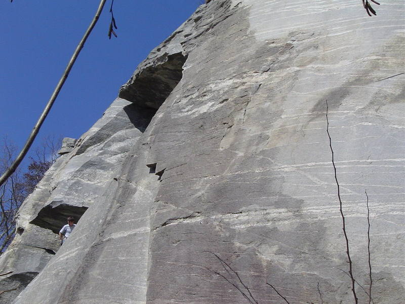 Breakfast of Champions, 5.10d, Rumbling Bald, climbs the thin crimpy face pictured here.
