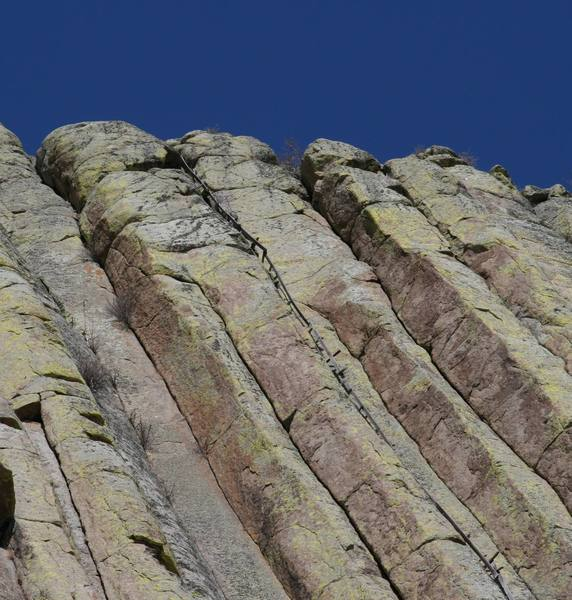 The final section of the Old Stake Ladder at Devils Tower... just below the Meadows...<br>