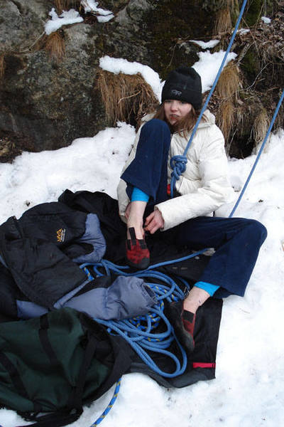 A very Cold Lily Hallett getting ready at Main Cliff, March 4th...