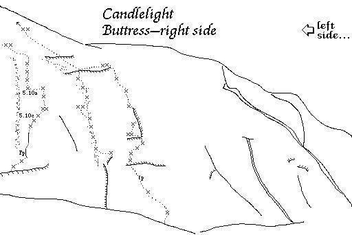 Candlelight Buttress, Whitney Portal<br> Topo by Robs John Muir, http://muir-mini.hopto.org/~rmuir/muir-desk/whitney_portal/Whitney_Portal.html