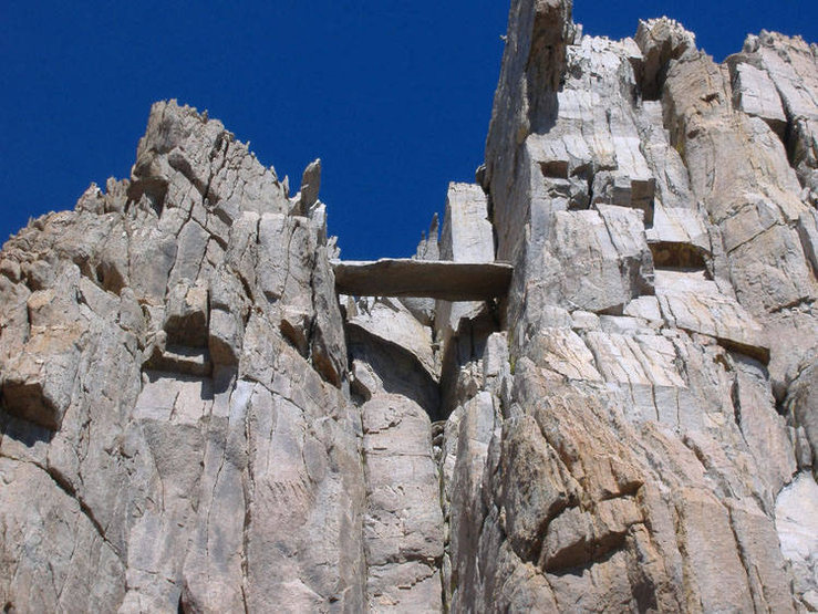 Not a picture of the Incredible Hulk, but a crazy, large plank of rock wedged in a crack on the ridge above Incredible Hulk.