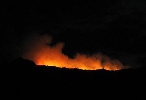 Fire glow-July 2006.<br> Photo by Blitzo.