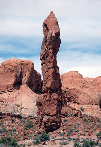 One of the many spires found at Arches National Park.<br> Photo by Blitzo.