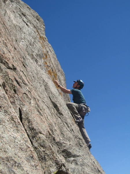Thin 5.10 edging on the first pitch.<br> <br> Photo by Mike Amato.