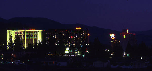 Stateline Casinos, Lake Tahoe, 1980s.<br> Photo by Blitzo.