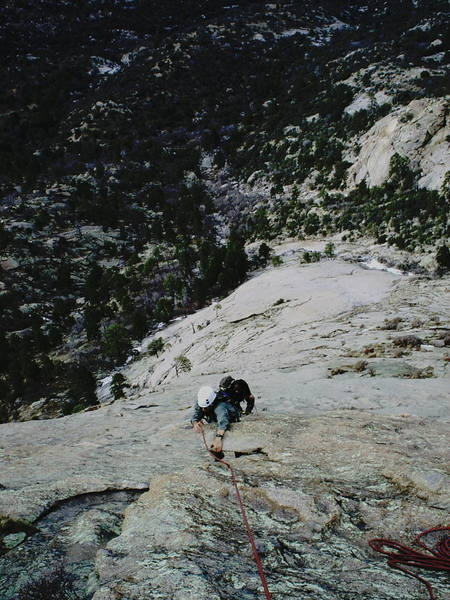 Tom Schuster (with Mike Edmonds on his heels) at the last pitch. The entire route can be seen spread out below him