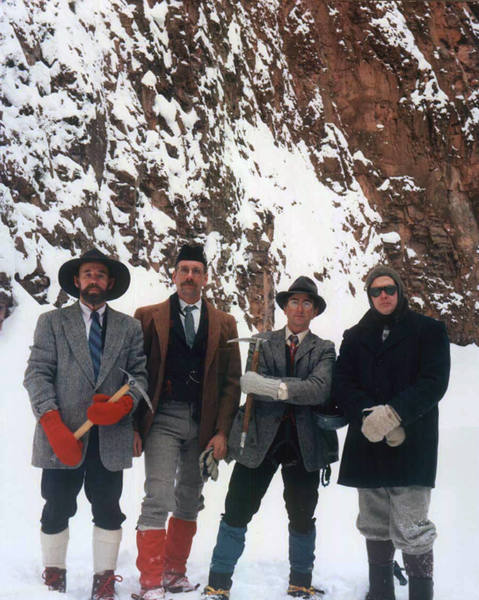 At the base of Nightfall. The impeccable gentlemen of Gentlemen's Occassional, Winter 2002.<br> <br> Courtesy of Dave Brandt.