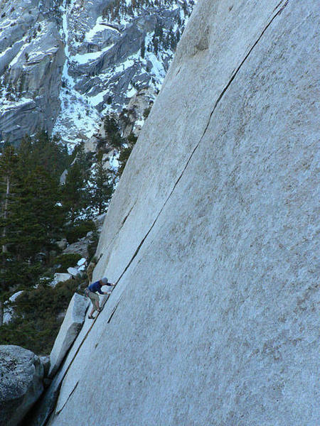 Nick attempting the onsight of Tanager (5.10b), at the base of Ghostrider.