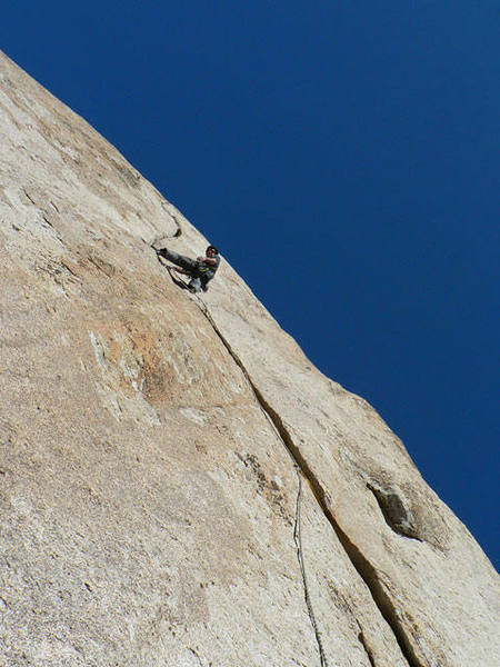 Pitch 2 of Nimbus, past the pumpy layback section.