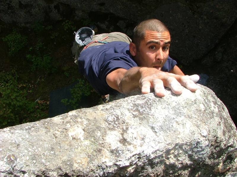 """""""The Boulder King of McLellan Rocks""""<br> Arden Pete sending one of his many High Balls. The Photo was on the Cover of the Oct 06 OutThere a Local Spokane Rag."""