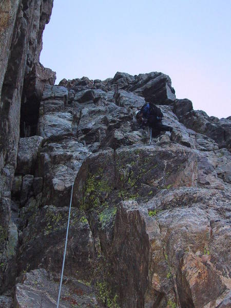 The first pitch, where you can either follow the chimney on the left, or climb the face of the right as Warren is doing.