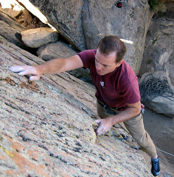 Nathan Fitzhugh on the bouldery start of Dead Man Chalking.