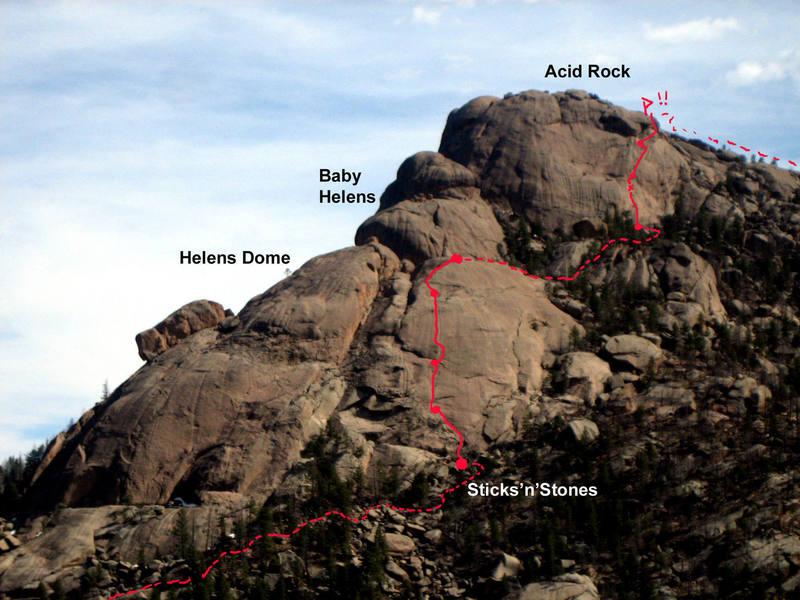Basic Topo of Sticks'n'Stones. First half climbs Helens', second half climbs Acid.