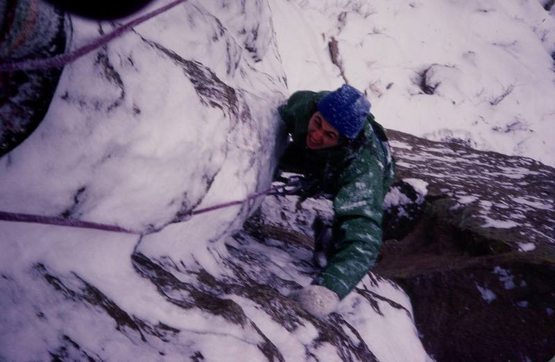 Bruce Sposi at the top of the first pitch on a winter day!<br> <br> Photo: Olaf Mitchell.
