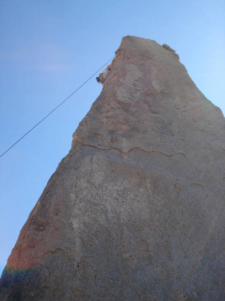 An OK view of the route. The climber in the picture is TRing the Shark's Fin Arete (5.7) (not Ol'White Pappy).