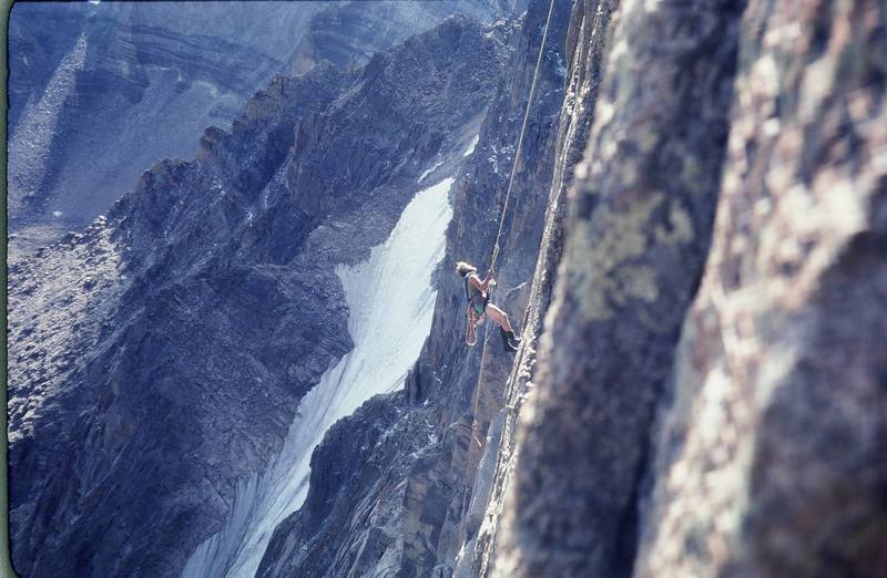 The late Chip Salaun in the early '80s doing botany research on the steep wall on the left side of The Diamond.<br> <br> Photo by: Olaf Mitchell.