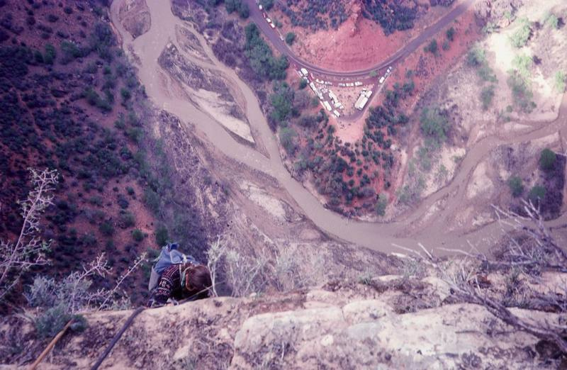 Photo:Olaf Mitchell<br> View from the top of Angels Landing<br> Climber:Ron Kaulk<br>