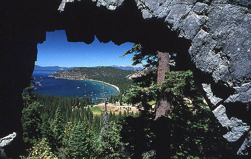 Glenbrook-Lake Tahoe, NV, through the arch at Shakespeare Rock.<br> Photo by Blitzo.