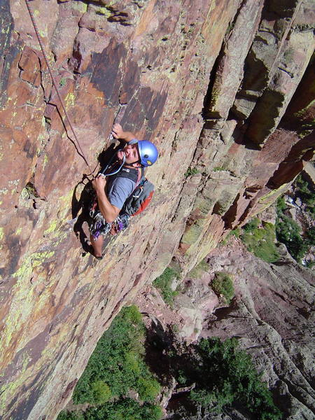 Trevor Nydam on the runout traverse.