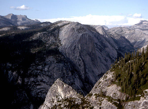 Mt. Watkins and Tenaya Canyon from Half Dome.<br> Photo by Blitzo.