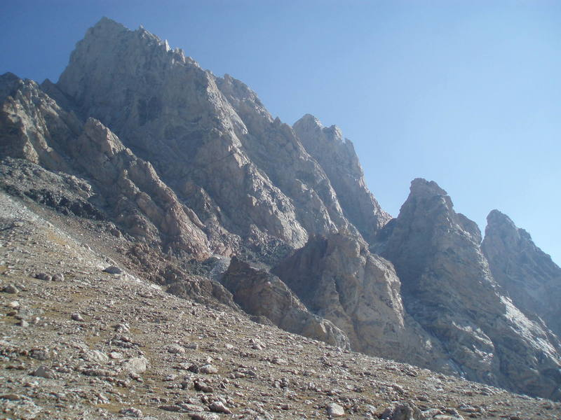 Viewed from the approach up from the Lower Saddle.  Teepe Pillar is the bottom right pillar.