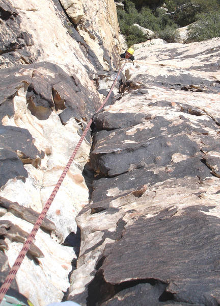 Mike following up the first pitch of Purblind Pillar.