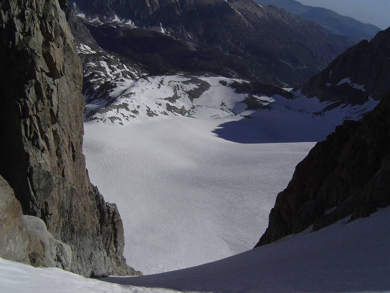 The view down the U Notch, N. Palisade, July, 2006.