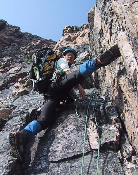 Happy times on the crux buttress, above most of the rock fall.
