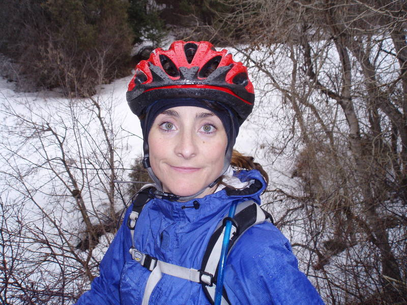 Dayna during a ride in the snow/rain.