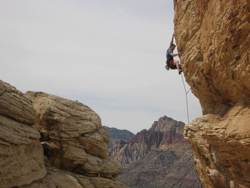Drew Peterson flashing Keep Your Powder Dry, Trophy wall, Red Rocks, Nevada. Photo by Ara Finlayson