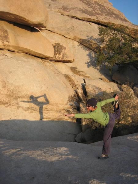 Kayte Knower limbers up before Hobbit Roof.
