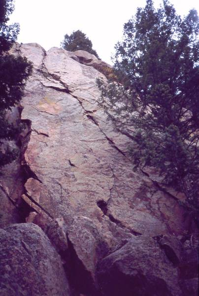 """""""Heddie La Rue"""" climbs the obvious crack system on this rock. Photo by Tony Bubb, 2003."""