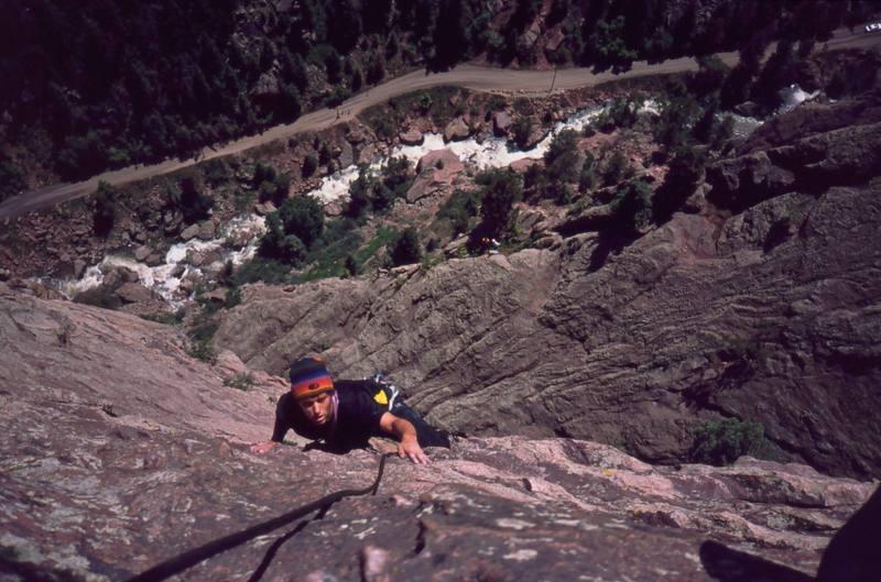 Kent Korbel on 'Upper Ruper (5.7)' on Eldo's Redgarden Wall. Photo by Tony Bubb, 2003.