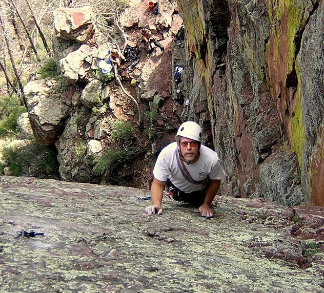 Steve Tweito nabs an early ascent, dust still on the rock.