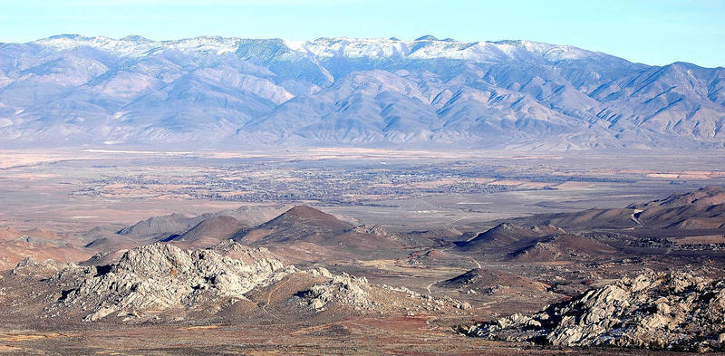 The Buttermilks, looking east over Bishop and the Owens Valley with the White Mountains in the background.